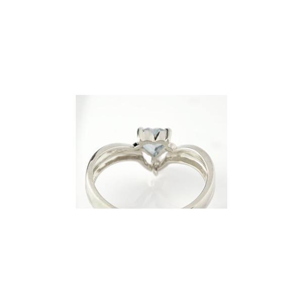 ピンキーリング ハート プラチナ リング アクアマリン パール 指輪 3月誕生石 真珠 フォーマル クリスマス 女性
