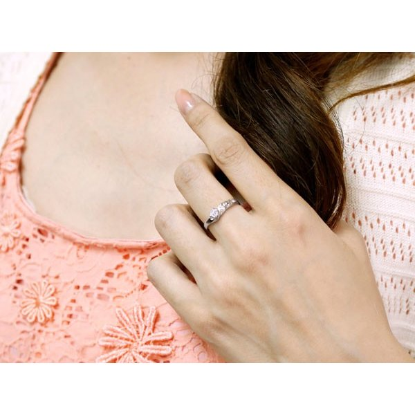 ピンキーリング ハワイアンジュエリー ハワイアン ダイヤモンド リング 指輪 ホワイトゴールドk18 ハワイアンリング 18金 k18wg ダイヤ ストレート 母の日