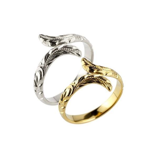 ハワイアン ペアリング 人気 結婚指輪 ミル打ち イエローゴールドk18 ホワイトゴールドk18 地金リング 18金 k18wg k18yg ストレート カップル 母の日