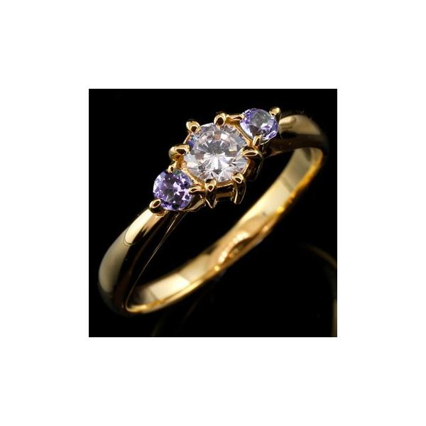 ピンキーリング 鑑定書付 ダイヤモンド リング アメジスト 指輪 大粒 ダイヤ イエローゴールドK18 18金 ダイヤモンドリング ダイヤ ストレート 宝石