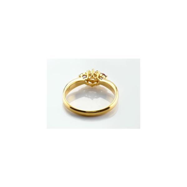 ピンキーリング ダイヤモンド リング ガーネット 指輪 大粒 ダイヤ イエローゴールドK18 18金 ダイヤモンドリング ダイヤ ストレート 宝石 クリスマス 女性