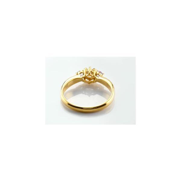 ピンキーリング ダイヤモンド リング ピンクサファイア 指輪 大粒 ダイヤ イエローゴールドK18 18金 ダイヤモンドリング ダイヤ ストレート 宝石