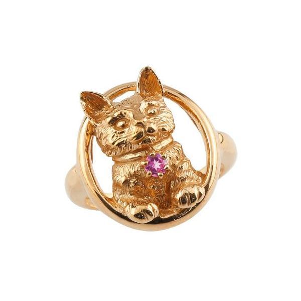 ピンキーリング 猫 リング ピンクトルマリン 指輪 ピンクゴールドk18 18金 10月誕生石 ストレート 宝石 クリスマス 女性
