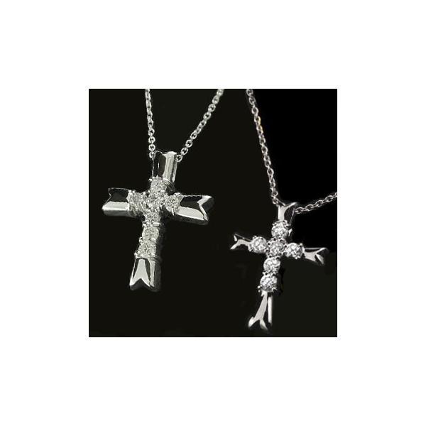 ペアネックレス ペアペンダント クロス ダイヤモンド ネックレス ペンダント ホワイトゴールドk18 十字架 ダイヤ ダイヤ 18金 カップル クリスマス 女性