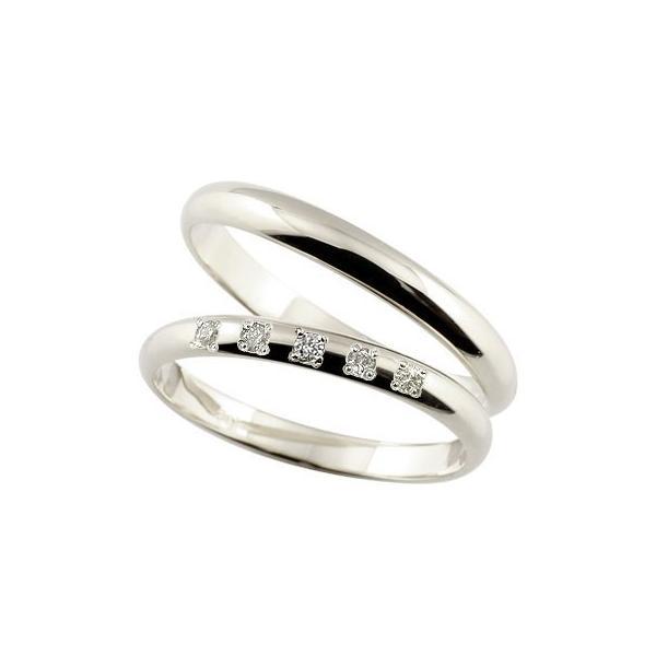 ペアリング プラチナ ダイヤモンド 甲丸 結婚指輪 マリッジリング ダイヤ ストレート カップル 宝石 クリスマス 女性