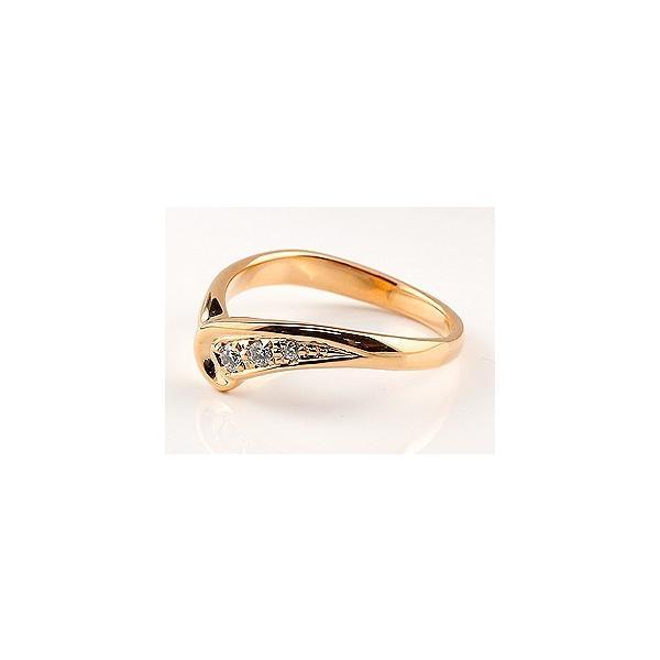 ピンキーリング 婚約指輪 エンゲージリング 指輪 ピンクゴールドk18 ダイヤ ダイヤモンドリング V字 18金 レディース ウェーブリング スリーストーン