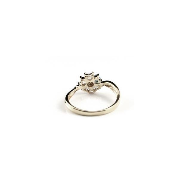 アクアマリン フラワーリング キュービックジルコニア 指輪 花 シルバー925 CZ レディース 人気 ストレート クリスマス 女性