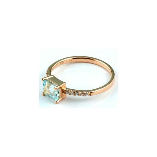 ピンキーリング アクアマリン リング 指輪 ダイヤモンド ダイヤ ピンクゴールドk18 18金 シンプル レディース 3月誕生石 ストレート 宝石 クリスマス 女性