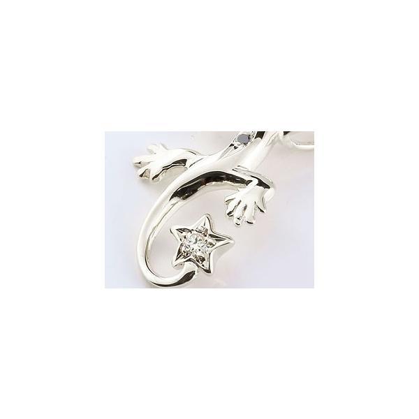 ネックレス ペア トカゲ ダイヤモンド ブラックダイヤモンド ピンクゴールドk18 ホワイトゴールドk18 18金 ハート 星 チェーン 人気 ダイヤ カップル レディース