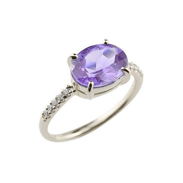 アメジスト シルバーリング キュービックジルコニア 指輪 ピンキーリング 2月誕生石 ストレート 宝石 送料無料
