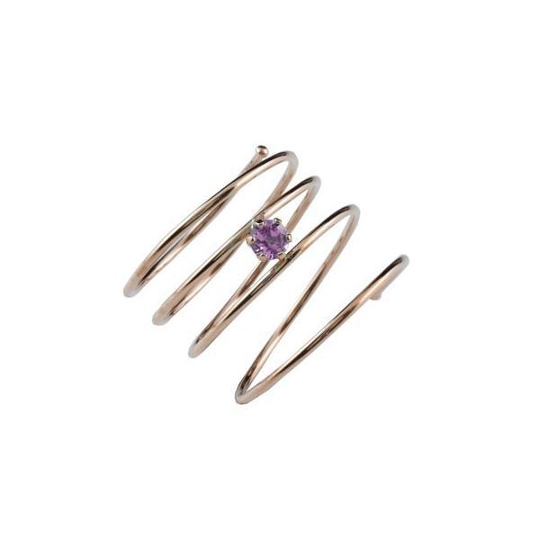 メンズリング ファランジリング ピンクサファイア ピンクゴールドk18 ミディリング 関節リング 指輪 ピンキーリング 18金 フリーサイズ ストレート 宝石
