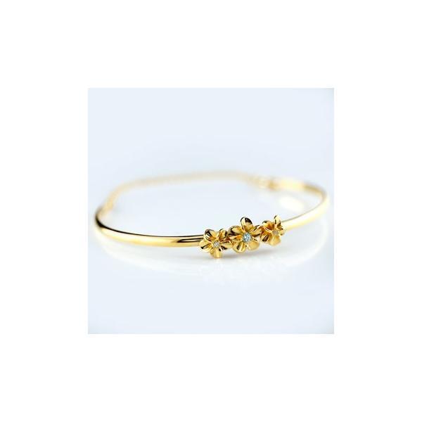 18金 バングル メンズ ブレスレット ダイヤモンド ゴールド ハワイアンジュエリー アクアマリン イエローゴールドk18 プルメリア 3月誕生石 ダイヤ
