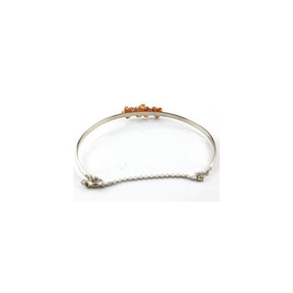 ブレスレット ハワイアンジュエリー プラチナ ブルートパーズ ダイヤモンド プルメリア バングル ピンクゴールドk18 コンビ 18金 レディース 11月誕生石 ダイヤ