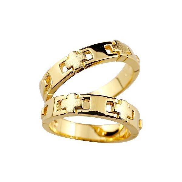 マリッジリング 結婚指輪 ペアリング クロス 幅広 リング 地金リング イエローゴールドk18 18金 十字架 つや消し 結婚式 ストレート カップル クリスマス 女性