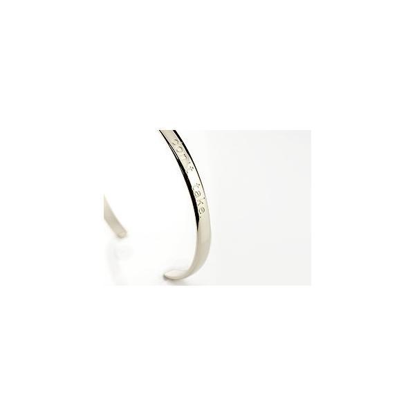ブレスレット バングル ホワイトゴールドk18 文字入れ 刻印 シンプル 地金 バングル 18金 レディース