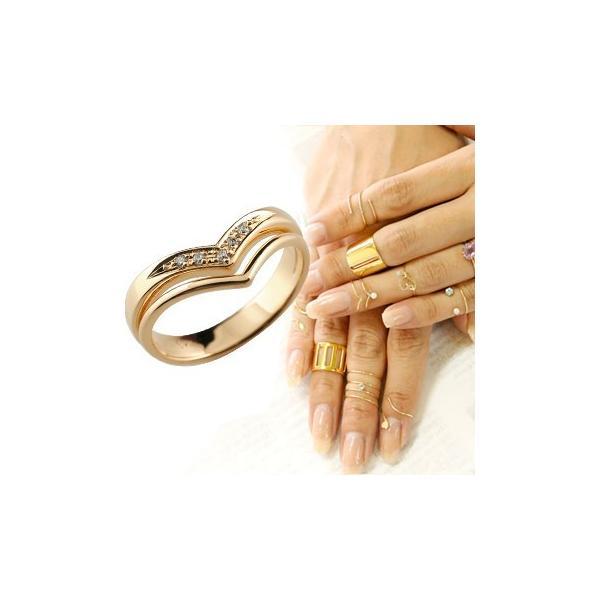 メンズリング ファランジリング 2連リング ダイヤモンド ピンクゴールドk18 ミディリング 関節リング 指輪 ピンキーリング V字リング ダイヤ 18金