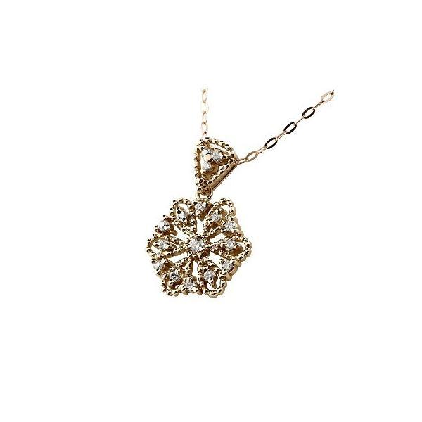 雪の結晶 ネックレス ダイヤモンド ペンダント ピンクゴールドk18 ダイヤ スノーモチーフ ミル打ち 18金 レディース チェーン 人気