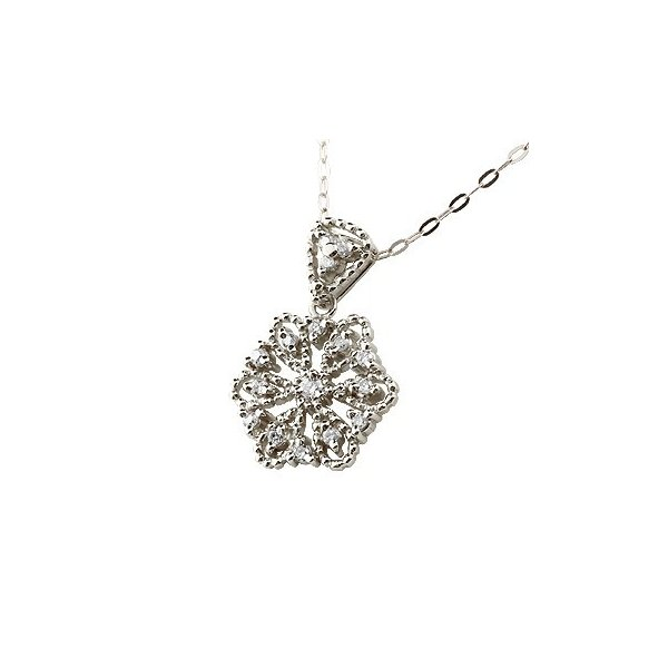 雪の結晶 ネックレス ダイヤモンド プラチナ ペンダント ダイヤ スノーモチーフ ミル打ち レディース チェーン 人気