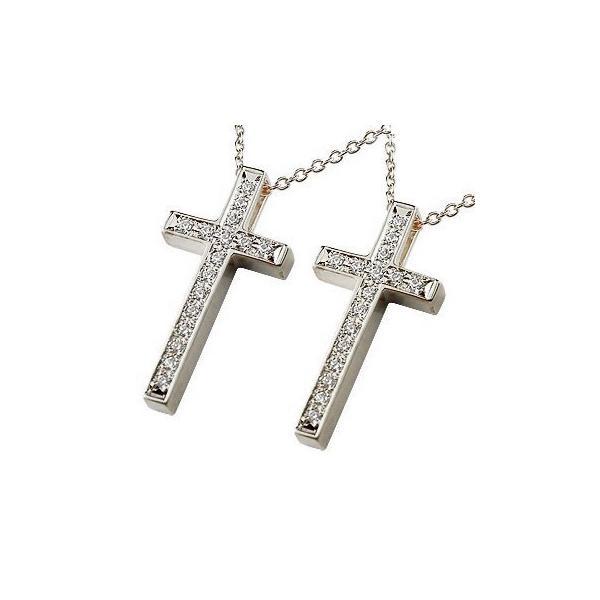ネックレス ペア ペアペンダント クロス ダイヤモンド ホワイトゴールドk18 ペンダント ダイヤ 十字架 チェーン 18金 人気 カップル クリスマス 女性