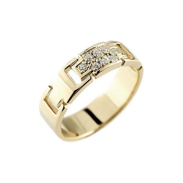 ピンキーリング クロス ダイヤモンド リング 指輪 ダイヤモンドリング イエローゴールドk18 ダイヤ 幅広指輪 十字架 18金 レディース ストレート