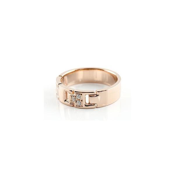 ピンキーリング ダイヤモンド リング 指輪 ダイヤモンドリング ピンクゴールドk18 ダイヤ 幅広指輪 18金 レディース ストレート クリスマス 女性