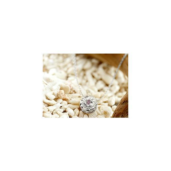 ネックレス ペア ペアペンダント ハワイアンジュエリー ダイヤモンド ピンクサファイア ホワイトゴールドk18 プチ マイレ ミル打ちデザイン 人気 18金