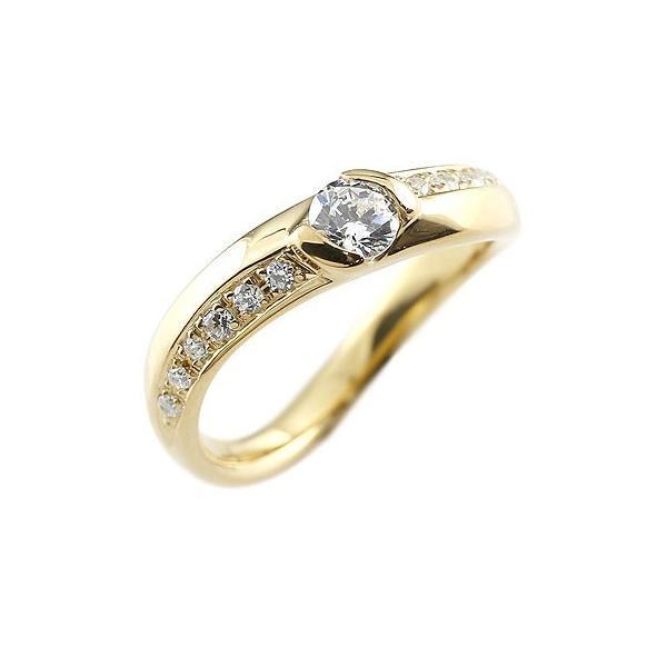 ピンキーリング 鑑定書付 ダイヤモンド リング 指輪 ダイヤ イエローゴールドk18 ダイヤモンドリング 大粒 VSクラス レディース 18金 ストレート