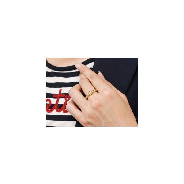 ピンキーリング 鑑定書付 ダイヤモンド 指輪 丸玉 ボールリング イエローゴールドk18 ダイヤ ダイヤモンドリング 一粒 SIクラス レディース 18金 ストレート