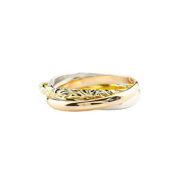 ハワイアンジュエリー 指輪 3連 リング シンプル プラチナ ゴールドk18 18k 甲丸リング 地金リング スリーカラー レディース 18金 送料無料