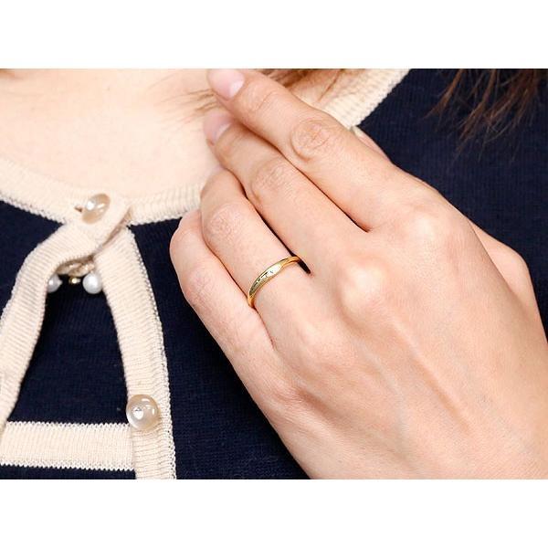 ピンキーリング 婚約指輪 エンゲージリング ダイヤモンド イエローゴールドk18 一粒 18金 極細 華奢 指輪 クリスマス 女性