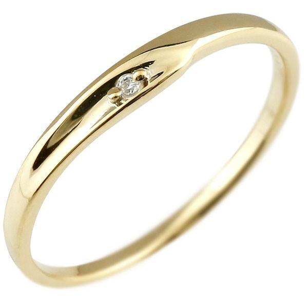 ピンキーリング 婚約指輪 エンゲージリング ダイヤモンド イエローゴールドk10 一粒 10金 極細 華奢 指輪 クリスマス 女性