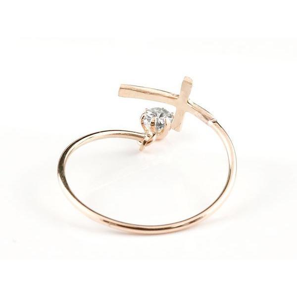 ピンキーリング ファランジリング クロス 十字架 ダイヤモンド ピンクゴールドk18 ミディリング 関節リング 指輪 18金 レディース ネイルリング フリーサイズ