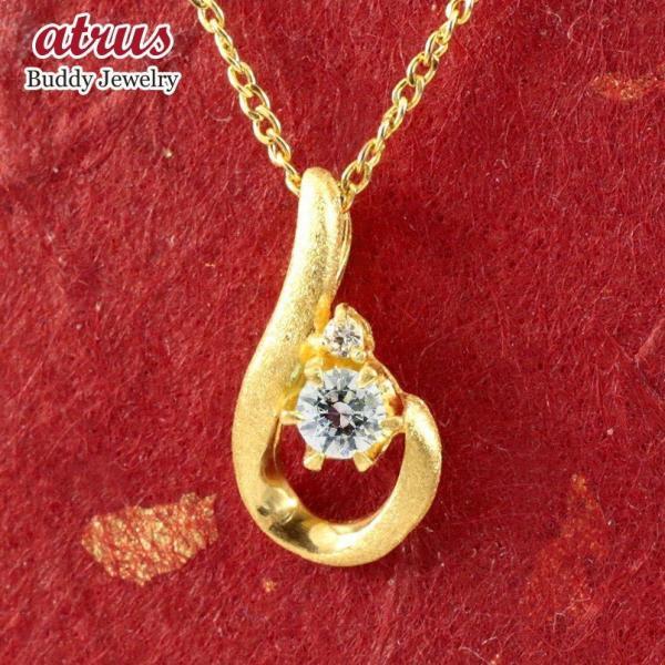 24金ネックレス 純金 ダイヤモンド ティアドロップ レディース ペンダント 雫 つゆ型 涙型 ゴールド k24 人気 女性 送料無料
