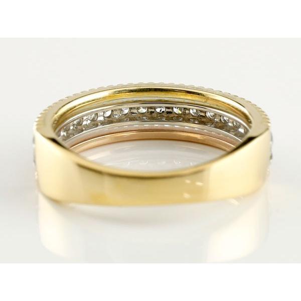 ダイヤモンド リング 3色 指輪 ダイヤ ピンキーリング 幅広指輪 スリーカラー プラチナ ゴールド アンティーク風 ミル打ち レディース