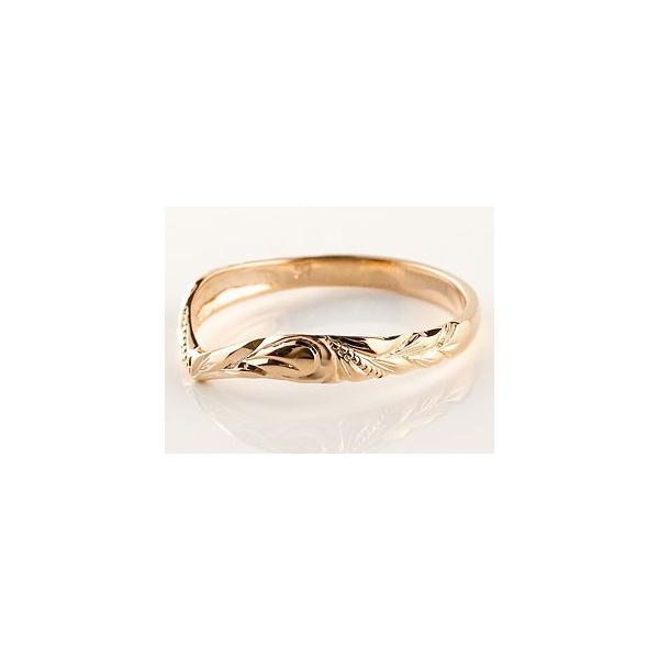 ピンキーリング ハワイアンジュエリー ピンクゴールドk10リング 指輪 ハワイアンリング V字 k10 レディース 母の日