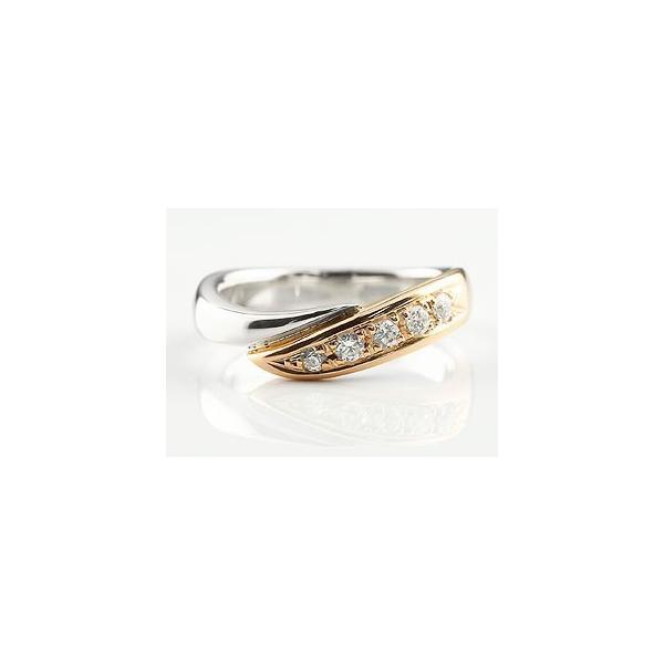 ピンキーリング ダイヤモンド リング 指輪 コンビリング ダイヤ ダイヤモンドリング プラチナ ピンクゴールドk18 スパイラル ウェーブリング レディース