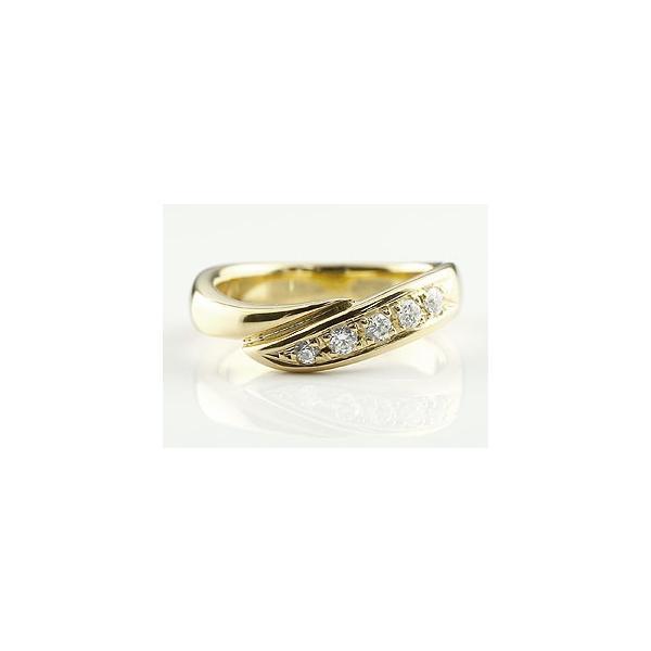 婚約指輪 エンゲージリング ダイヤモンド リング 指輪 ダイヤ ダイヤモンドリング イエローゴールドk18 スパイラル ウェーブリング 18金 レディース