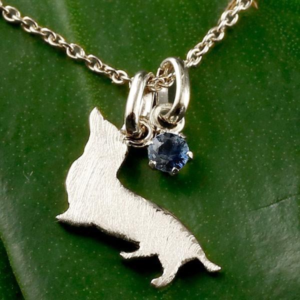メンズ 犬 プラチナ ネックレス トップ ブルーサファイア 一粒 ダックス ダックスフンド いぬ イヌ 犬モチーフ 9月誕生石 チェーン 人気 シンプル 青い宝石