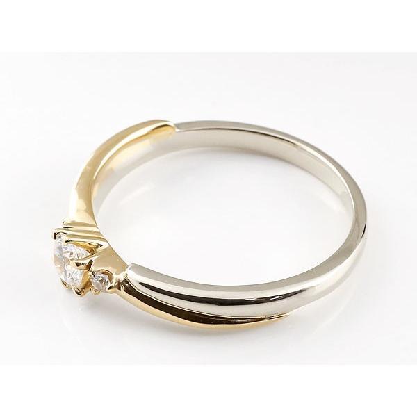 婚約指輪 エンゲージリング ダイヤモンド リング プラチナ リング 指輪 イエローゴールドk18 コンビリング 一粒 大粒 18金 ダイヤモンドリング ダイヤ