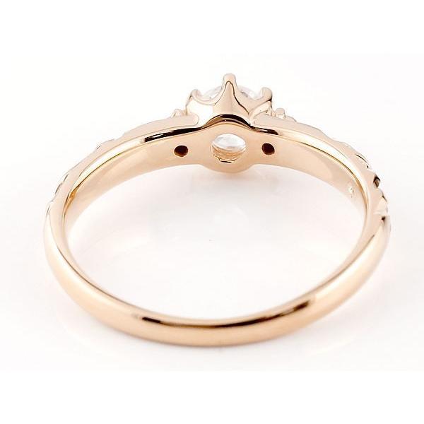 鑑定書付き 婚約指輪  エンゲージリング ハワイアンジュエリー SI 一粒 ピンクゴールドk10 10金 k10pg ストレート  プレゼント 女性 ペア 母の日