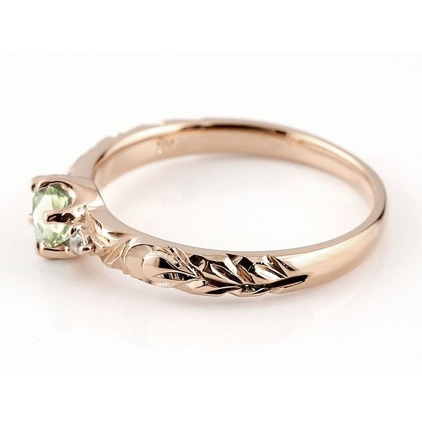 ピンキーリング ハワイアンジュエリー ペリドット リング 一粒 大粒 指輪 8月誕生石 ピンクゴールドk18 ハワイアンリング 18金 k18pg ダイヤ ストレート 宝石