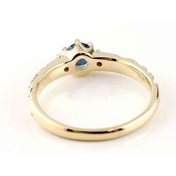 ピンキーリング ハワイアンジュエリー ブルーサファイア リング 一粒 大粒 指輪 9月誕生石 イエローゴールドk18 ハワイアンリング 18金 k18yg ダイヤ ストレート