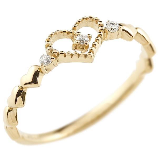 ピンキーリング ハート イエローゴールドk10リング ダイヤモンド シンプル 指輪 華奢リング 重ね付け 指輪 細め 細身 k10 アンティーク レディース