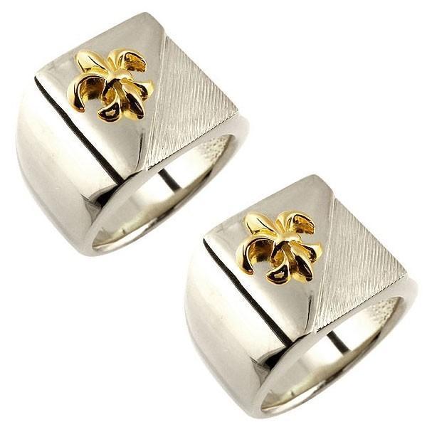 ペアリング プラチナ 2本セット PT900 結婚指輪 メンズ 印台 幅広 指輪 ユリの紋章 イエローゴールドk18 コンビリング 男性用 18金 トラスト フルール・ド・リス