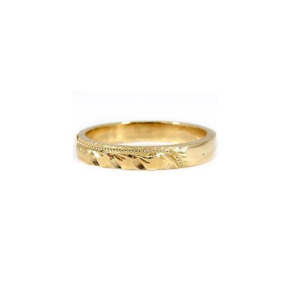 ハワイアンジュエリー ペアリング 結婚指輪 イエローゴールドk18 ホワイトゴールドk18 マリッジリング 地金リング 18金 トラスリング カップル 3本セット