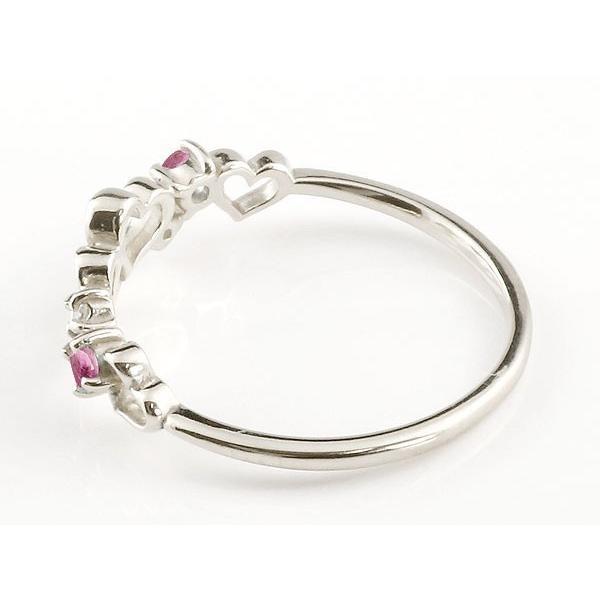 ピンキーリング ダイヤモンド オープンハート シルバーリング ルビー 指輪 華奢リング 重ね付け sv レディース 7月誕生石 宝石 クリスマス 女性