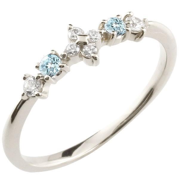 フラワー 花 リング ブルートパーズ ダイヤモンド ホワイトゴールドk18 18k ピンキーリング 指輪 華奢 重ね付け 18金 レディース 11月誕生石 宝石 送料無料