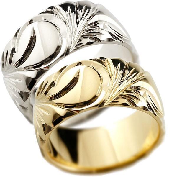 結婚指輪 安い 結婚指輪 ペアリング ハワイアンジュエリー イエローゴールドk18 プラチナリング 幅広 指輪 ハワイアンリング 地金リング  女性 母の日