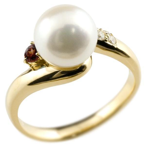 パールリング 真珠 フォーマル エンゲージリング 婚約指輪 18金  ガーネット イエローゴールドk18 リング ダイヤモンド ダイヤ 指輪 18金 宝石