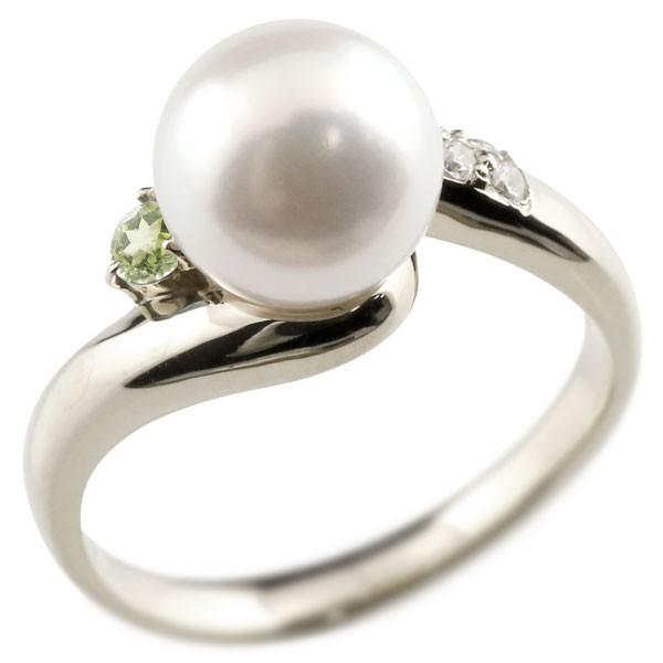 パールリング 真珠 フォーマル エンゲージリング 婚約指輪 18金  ペリドット ホワイトゴールドk18 リング キュービックジルコニア キュービック 指輪 18金 宝石